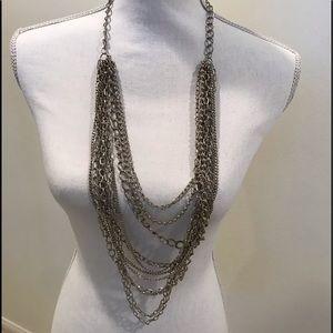 Silver Multi-Strand Long Necklace